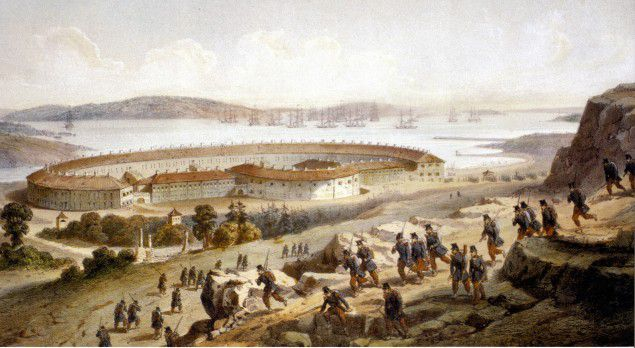 Painting showing the battle at Bomarsund where French and British troops attacked and seized